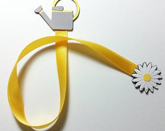 Gardening Ribbon Bookmark   Watering Can and Daisy Ribbon Bookmark