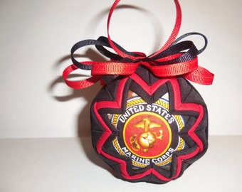 Handmade United States Marine Corps Fabric Ornament