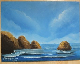 ROCKY SHORE Contemporary Art Oil Painting On Fiberboard 12x16 No Frame
