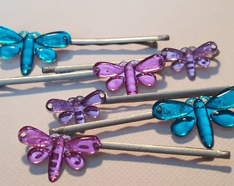 Dragonfly or butterfly bobby pins, butterfly and dragonfly hair pins,bug hair pin with bug, butterfly barrette, insect hair pins, dragonfly