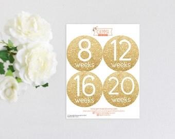 Pregnancy Bump Stickers Gold Glitter Modern Chic Belly Sticker Set