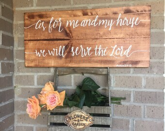 As For Me and My House We Will Serve the Lord | Wooden sign | Joshua 24:15
