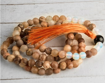 Meditation Mala, Peach Moonstone Mala, Meditation Necklace, 108 Mala Beads, Mala Necklace, Tassel Necklace