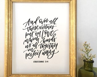 Handlettered Colossians 3:14 Print