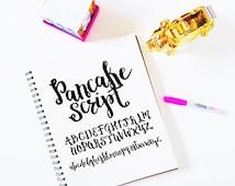 """Letter Set INSTANT DOWNLOAD """"Pancake Script"""" svg, script cut file, cursive font, font svg, hand lettered font, brush font, script svg, dxf"""