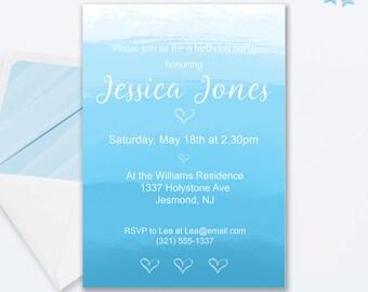 Blue Watercolor Birthday Invitation - Blue Invitation - Blue Invite - Blue Watercolor Birthday Invite