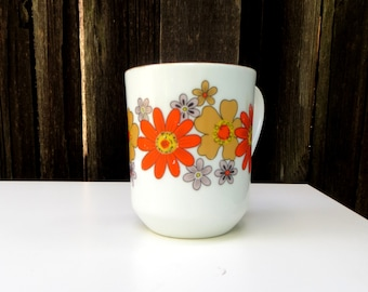 70's Groovy Japanese Flower Mug in Gold and Orange . 1970s Coffee Cup Abstract Floral Retro Design