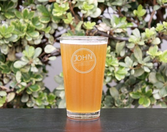 Groomsman Gift, Personalized Beer Glasses,Personalized Pint Glass, Custom Engraved Beer Glasses, Engraved Pint Glasses,--GLS-PINT-John Smith