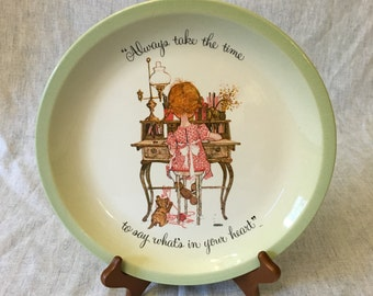 """Vintage Hollie Hobbie Collectors Edition Plate, """"Always Take the Time To Say Whats in Your Heart"""""""