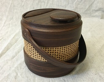 Vintage Mid Century Faux Wood Grain Vinyl and Rattan Ice Bucket, Vintage Barware