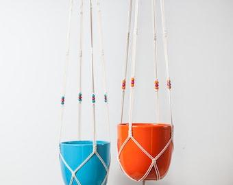 Macrame plant hanger with beads, 96 cm