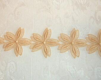 Vintage Ecru Beige Fabric Trim Floral Flower Design - 2 yards and  31 inches