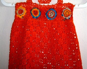 orange crotcheted dress for kids