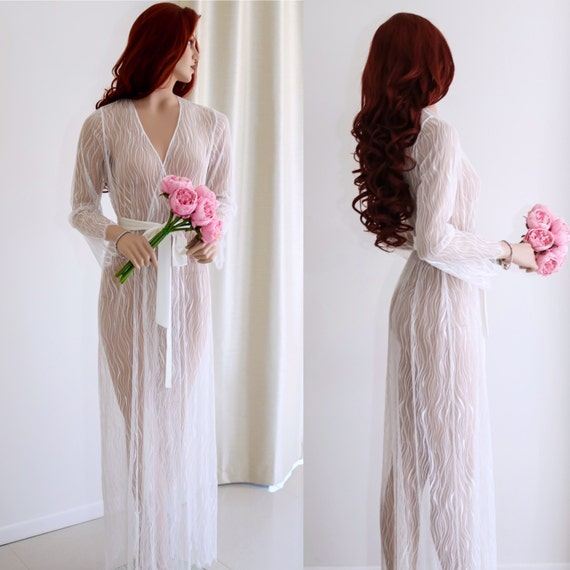 Bridal Robe To Get Ready In: Bridal Lace Robe/ Getting Ready Robe/ Sexy Lace Robe/Boudoir