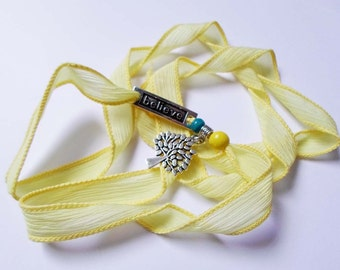 Tree of life Pendant Bracelet, Yellow Silk Ribbon Bracelet, Wrist Wrap Bracelet, Believe Bracelet, Wrap Boho jewelry, Yoga Hippie bracelet