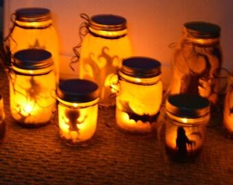 Halloween Light up Jars