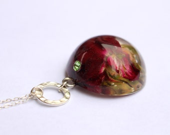 Real Flower Resin Sterling Silver Pendant Necklace