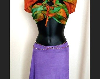 Silk Belly Dancing Bandeau, Autumn Colors Burning Man Costume, Knot Detail Belly Dance Crop Top