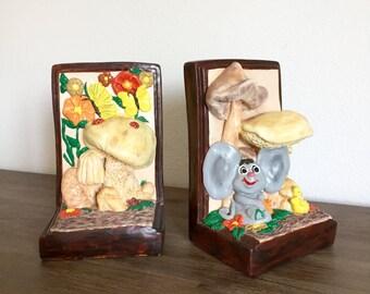 Ceramic Bookends; Nursery Room Decor; Vintage Bookends; Children's Bookends; Hand Painted Bookends; Children's Room Decor; Book Holder