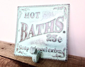 Aqua Blue Bath Sign - Bathroom Sign - Bathroom Wall Art -  French Country - Shabby Chic Decor - Cottage Decor - Bathroom Wall Decor - Signs