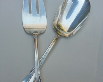 Silverplated Salad spoon, fork, Rodgers, Serving Pieces