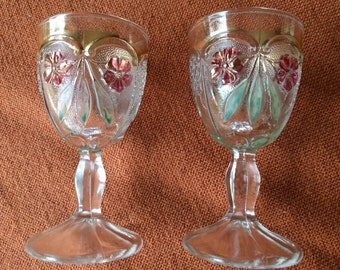 TWO SHERRY GLASSES, Antique, Vintage, Pressed Glass, 1920, Stemware
