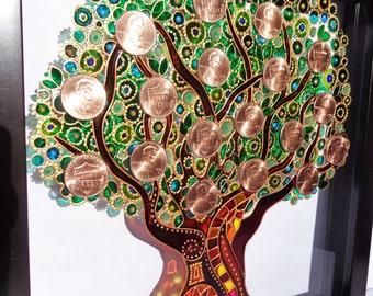 Money tree art Glass painting Wall decor