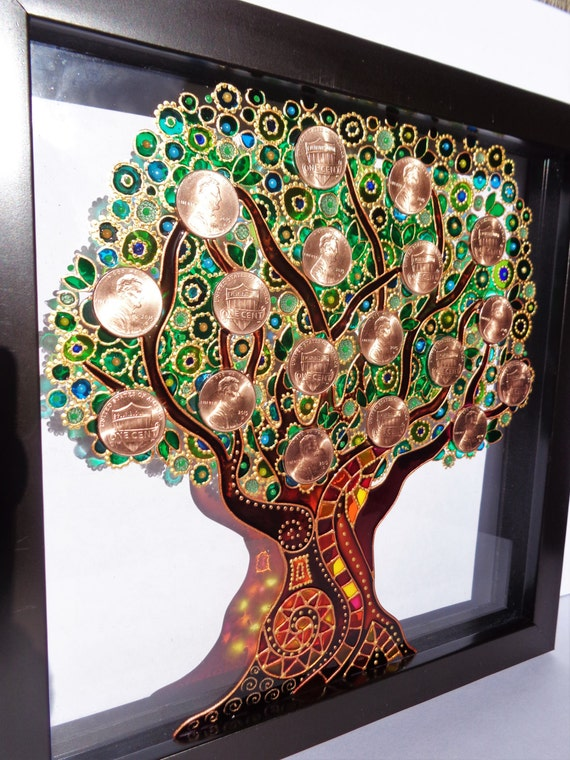 Money tree art glass painting wall decor by cozyhome1 on etsy Mural glass painting