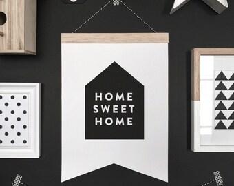 Home sweet home banner, hanging banner, wall hanging, wall banner, banner, wall, wall decor, nursery art, nursery decor, kid decor