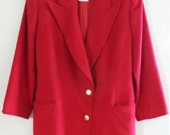 Gianfranco Ferre Fred Heyman Red Wool Cashmere Womens Blazer Jacket Coat, Italy, 12-L