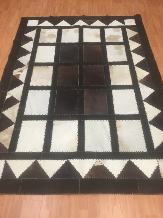 """5'4"""" x 7'6"""" Cow Skin Patch Work Rug - Hand Made - Perfect Condition - Made in USA"""