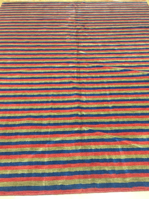 8' x 10' Indian Nepal Oriental Rug - Versace Stripes - Hand Made - 100% Wool