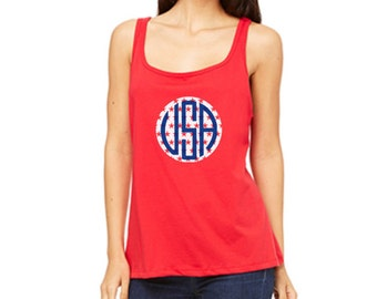 Monogram 4th of July Shirt - Women's Tank or Women's Tee Shirt