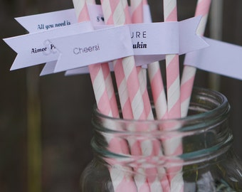 25 Bridal Shower Paper Straws with Straw Flags / Personalized Straws / Bridal Shower Straws / Party Straws / Custom Straws / Drink Flags