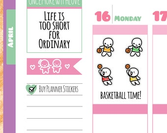 Munchkins - Basketball Practice or Game Planner Stickers (M196)