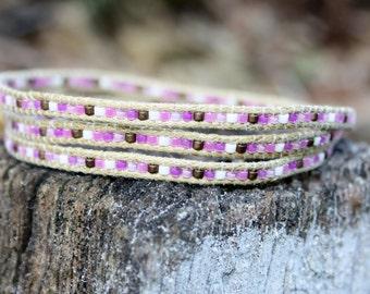Handmade Triple Wrap Chan Luu Style Miyuki Delica Seed Bead Bracelet Pink, Bronze, White