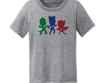 "PJ Heroes - ""PJ Heroes Silhouettes"" - Masks Heroes - Owlette, Catboy, and Gekko Shirt - Gray Toddler, Youth, and Adult Size T-Shirt"