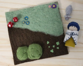 Needle Felt Playscape-Miniature-Forest Scene with Peg Doll and Rabbit-Waldorf inspired