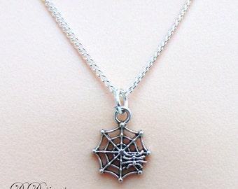 Silver Spider Web Necklace, Silver Spider Web Pendant, Silver Charm Necklace, Silver Necklace, Trendy Necklace