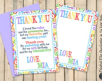 Art Party Thank You Note, Paint Party Thank You Message, Art Birthday Party, Paint Birthday Party, Drawing Party, Painting Party, Digital