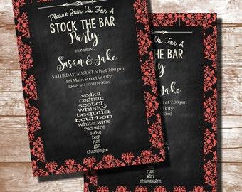 Stock the Bar Party, Stock the Bar Shower, Stock the Bar Wedding Shower, Stock the Bar Invitation, Couples Shower, Damask, Digital Printable