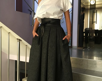 Plus Size Maxi Skirt, Full Circle Skirt, Black Maxi Skirt, Pocket Skirt, High Wasited Skirt, Fashion Skirt, Evening Skirt,Garden Party Skirt
