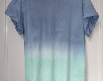 Tie Dye T-Shirt OMBRE  acid wash T-shirt hipster festival grunge blue green Retro 90s indie ombre dip dye unisex rave skate top