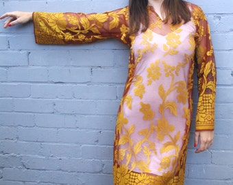 Vintage 1960's sheer bohemian gold yellow dress with bell sleeves