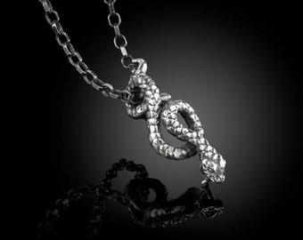 925 sterling silver snake pendant