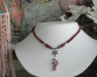 Ruby necklace and earring set  -  #421