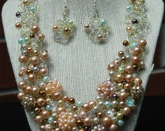 Faux Pearl Garden Strand Necklace
