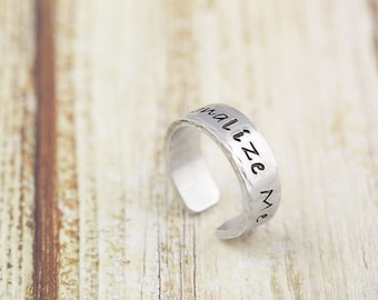 Personalized ring, hand stamped, custom silver ring, gift for her, gift for him, name ring, personalized jewelry, adjustable, non tarnish