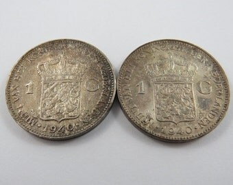 Netherlands Group of (2) 1940 One Gulden Silver Coins.