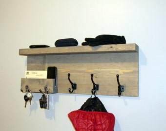 Entryway Storage Coat Rack with pocket, Mail Storage Coat Hooks, Key Hooks Shelf, Rustic Entryway Coat Rack Shelf, Phone Key Organizer